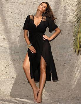 Пляжное платье черное длинное M 567 VERA (размеры S-XL)