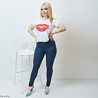 Стрейчевые женские джинсовые лосины на лето больших размеров 48-62 арт 1326