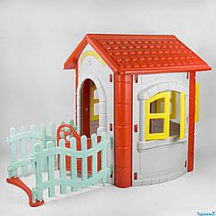 Игровой домик Pilsan Magic House 06-194 серо-красный с забором