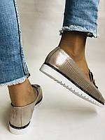 Жіночі туфлі -балетки з перфорацією на товстій підошві. Натуральна шкіра.36. 38.39.40. Супер комфорт., фото 6
