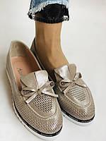 Жіночі туфлі -балетки з перфорацією на товстій підошві. Натуральна шкіра.36. 38.39.40. Супер комфорт., фото 3