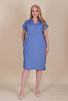 Голубое платье ЛЕН женское летнее большой размер. Опт и розница. Размер 52, 54, 56, 58, фото 1