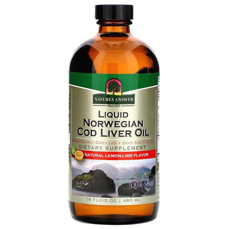 """Рыбий жир из печени трески Nature's Answer """"Liquid Norwegian Cod Liver Oil"""" со вкусом лимона и лайма (480 мл)"""