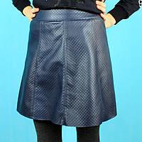 Детская юбка для девочки Трапеция кожаная синяя тм Viollen размер 12,14,16 лет