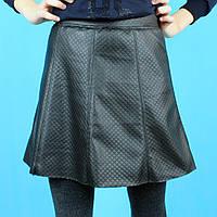Детская кожаная юбка для девочки Трапеция черная тм Viollen размер 12,16 лет