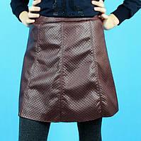 Детская кожаная юбка для девочки Трапеция бордо тм Viollen размер 8,14,16 лет