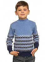 Вязаный свитер мальчику Джордж голубой тм TASHKAN размер 116 см