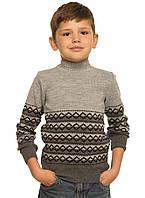 Вязаный свитер мальчику Джордж серый тм TASHKAN размер 110 см