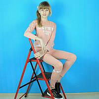 Детский костюм на девочку кроп-топ+лосины с сеткой тм Do-minik размер 164 см