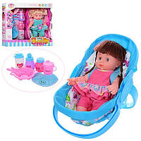 Кукла 29см, люлька 33см, бутылочка, посуда, слюнявчик,звук, бат(таб), в кор ,43-39,5-11,5см