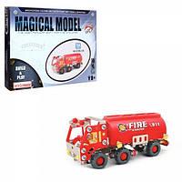 Конструктор мет. Пожарная машина, 154 дет. кор. 30-24-4 см.