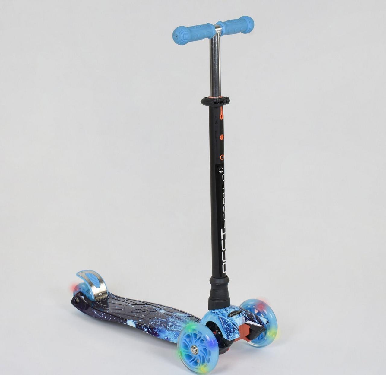 """Самокат MAXI """"Best Scooter"""" пластмассовый, 4 колеса PU, Свет, трубка руля алюминиевая, d=12см, в коробке"""