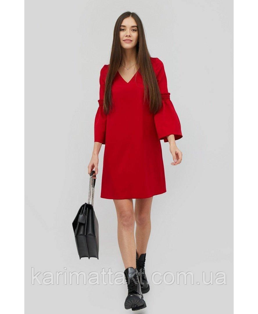 Платье миди с рукавом - волан