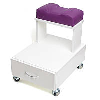 Тележка для педикюра с педикюрной пуф-подставкой для ноги, ящиком и полка для настольной маникюрной вытяжки