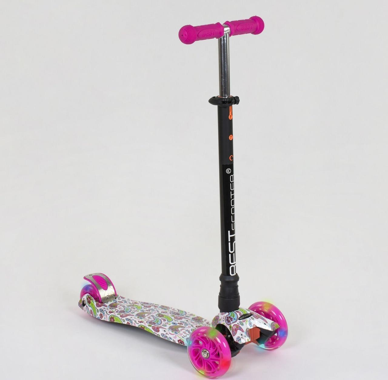 """Самокат MAXI """"Best Scooter"""" с принтом пластмассовый, 4 колеса PU, свет, трубка руля алюминиевая, d=12см"""