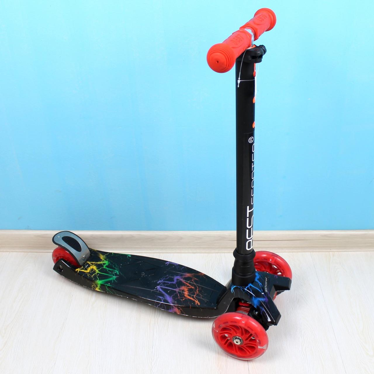 """Самокат MAXI """"Best Scooter"""" черный  пластмассовый, 4 колеса PU, свет, трубка руля алюминиевая, d=12см"""