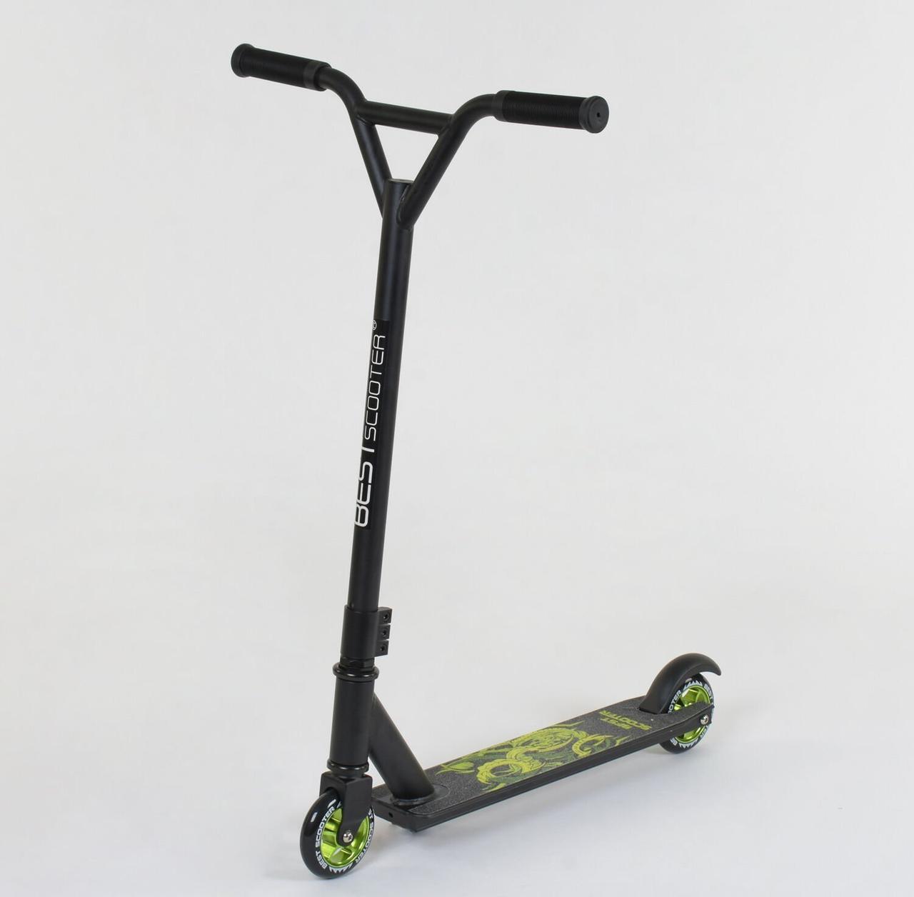 Самокат трюковый Best Scooter   алюминиевый диск и дека, колёса PU, d=10см зеленый