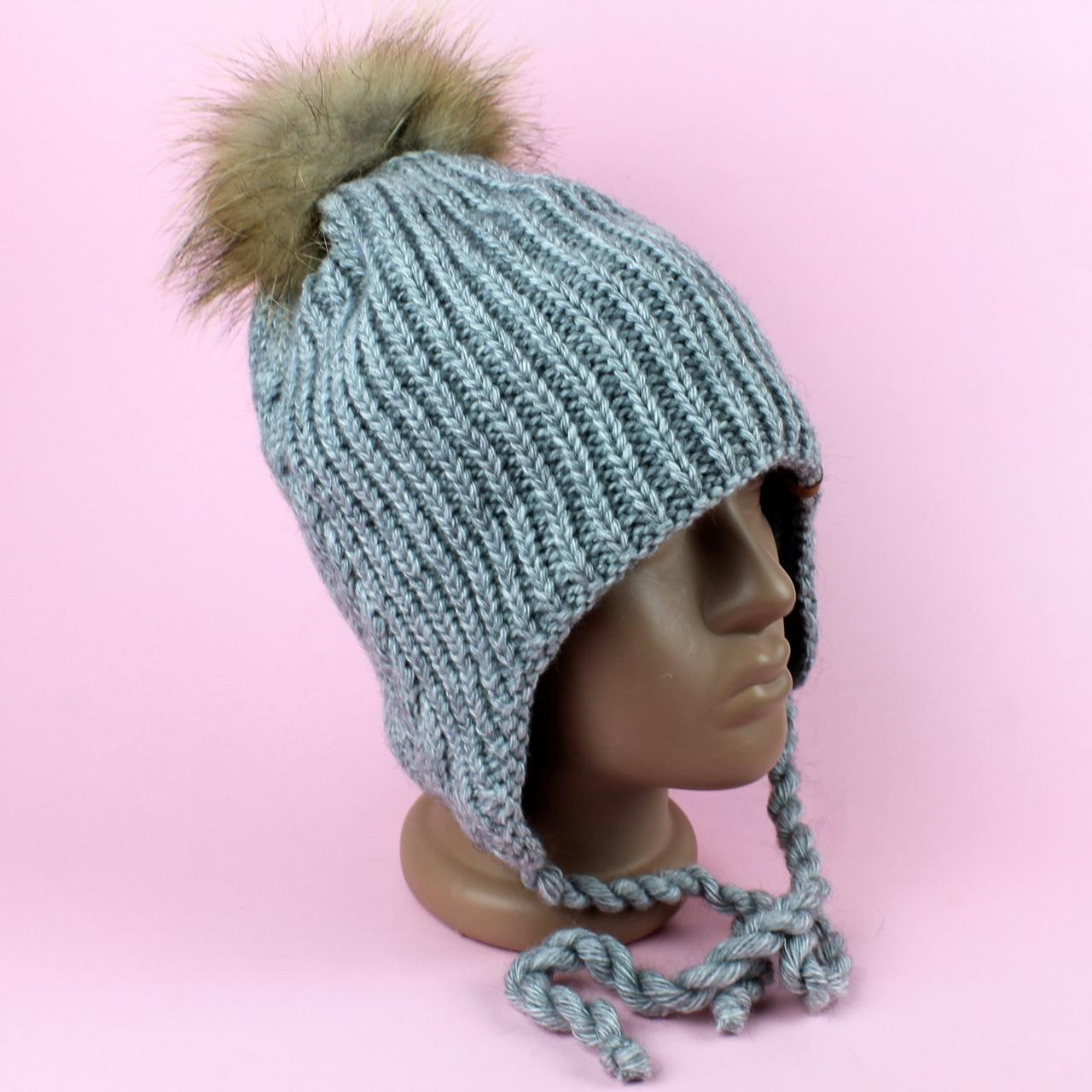 Шапка зимняя для девочки Ненси серая зима размер 50-52 тм Babasik