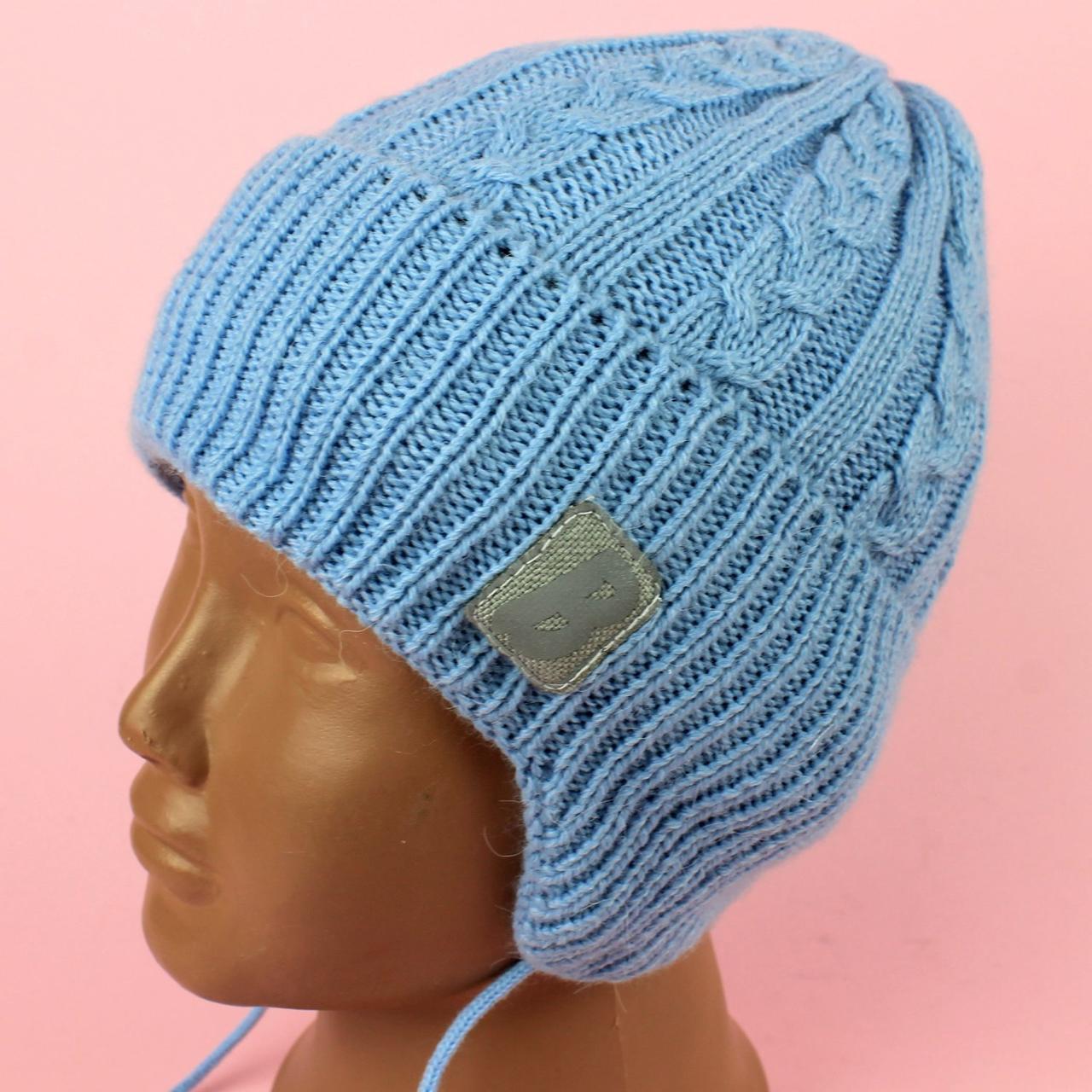 Шапка детская для мальчика Ноа голубая осень/зима размер 46-48,48-50,50-52 тм Babasik