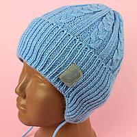 Шапка детская для мальчика Ноа голубая осень/зима размер 46-48,48-50,50-52 тм Babasik, фото 1