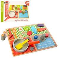 Деревянная игрушка Продукты MD 1223  плита, сковорода, в кор-ке, 31-23-4см