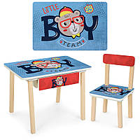 Детский столик деревянный со стульчиком и ящиком Bambi 803-3 Мишки синий