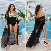 """Яркий женский слитный женский купальник на завязках больших размеров """"Ренита"""""""