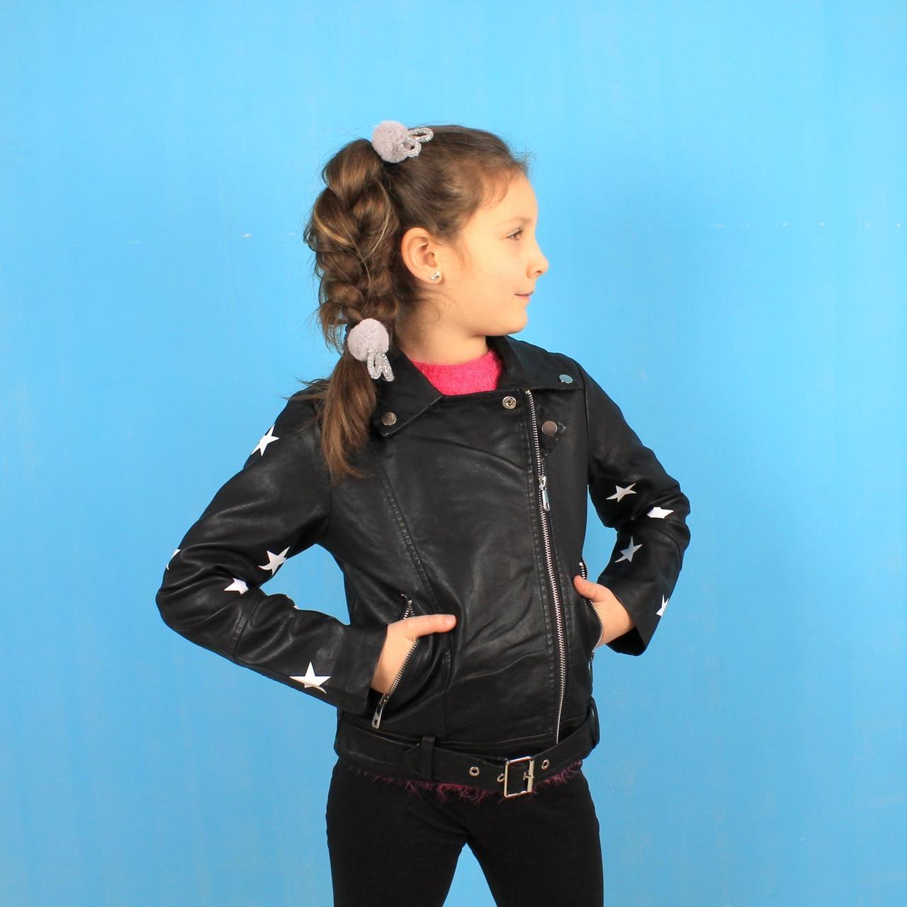 Куртка косуха для девочки Звезды черная тм S&D размер 6,8 лет