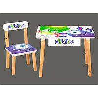 Детский столик деревянный со стульчиком и ящиком Bambi 803-4 Монстры
