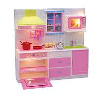 Мебель кухня 29,5-28-7см, посуда, свет, на бат-ке, в кор-ке, 31-31-9,5см