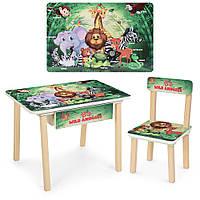 Детский столик деревянный со стульчиком и ящиком Bambi 803-83 Животные зеленый