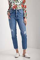 Весенние джинсы мом с высокой талией и рванкой
