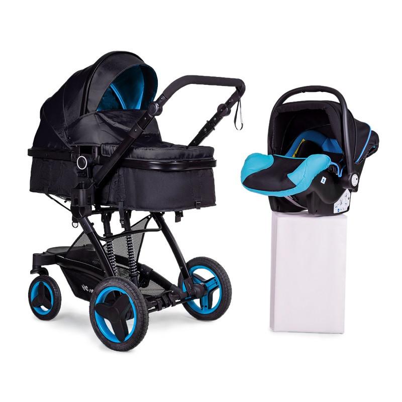 Універсальна коляска трансформер 3в1 + АВТОКРІСЛОМ Ninos Bono Blue