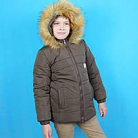 Детская зимняя куртка с капюшоном для мальчика коричневая тм Одягайко рост 110 см