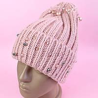 Зимняя шапка для девочки бусины, камни тм Nikola один размер