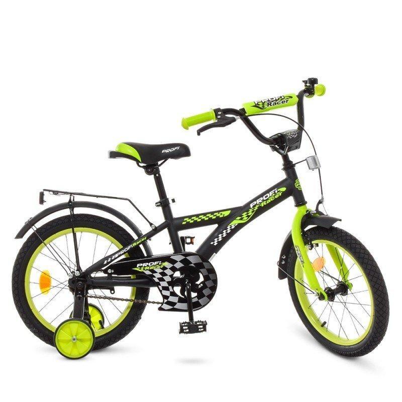 Велосипед детский PROF1 16д. Racer, черно-салатовый,з вонок, доп. колеса