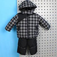 Детский комплект зимняя куртка штаны полукомбинезон для мальчика черная клетка тм Одягайко рост 86