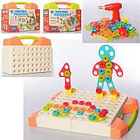 Игра Мозаика 129дет,шуруповерт-вращ.насадка, 2цв, в чемодане,бат,в карт.оберт, 27-20-10см