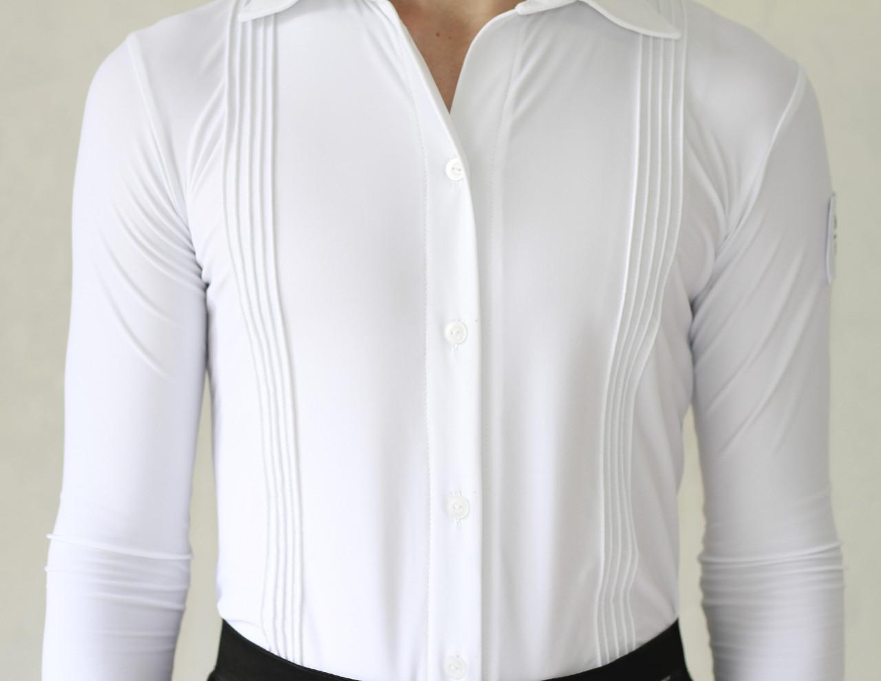 Рубашка для бальных танцев матовая SevenStore белая с защипами