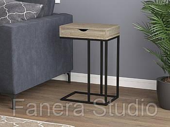Стол приставной на металлическом каркасе с ящиком