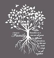 Виниловая наклейка стикер для дома Red Family tree 96х120 см Белая Матовая