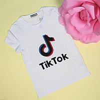 Детская футболка для девочки Tik-tok белая тм Glo-Story размер 146,152,164 см