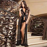 Эротический женский халат длинный M Чёрный ( 900 007 )