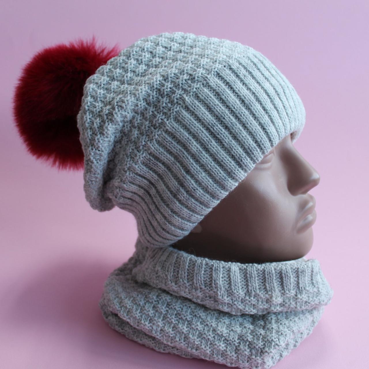Детская однотонная зимняя шапка на флисе и хомут девочке  размер 52-56