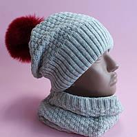 Детская однотонная зимняя шапка на флисе и хомут девочке  размер 52-56, фото 1