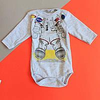 Дитячий боді довгий рукав на хлопчика матеріал інтерлок, BONNE BABY Туреччина размер 56,62 см