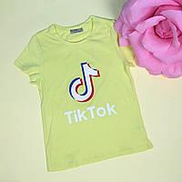 Детская футболка для девочки Tik-tok желтая тм Glo-Story размер 140,146,152,158,164 см