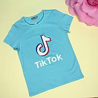Детская футболка для девочки Tik-tok голубая тм Glo-Story размер 152,158,164 см