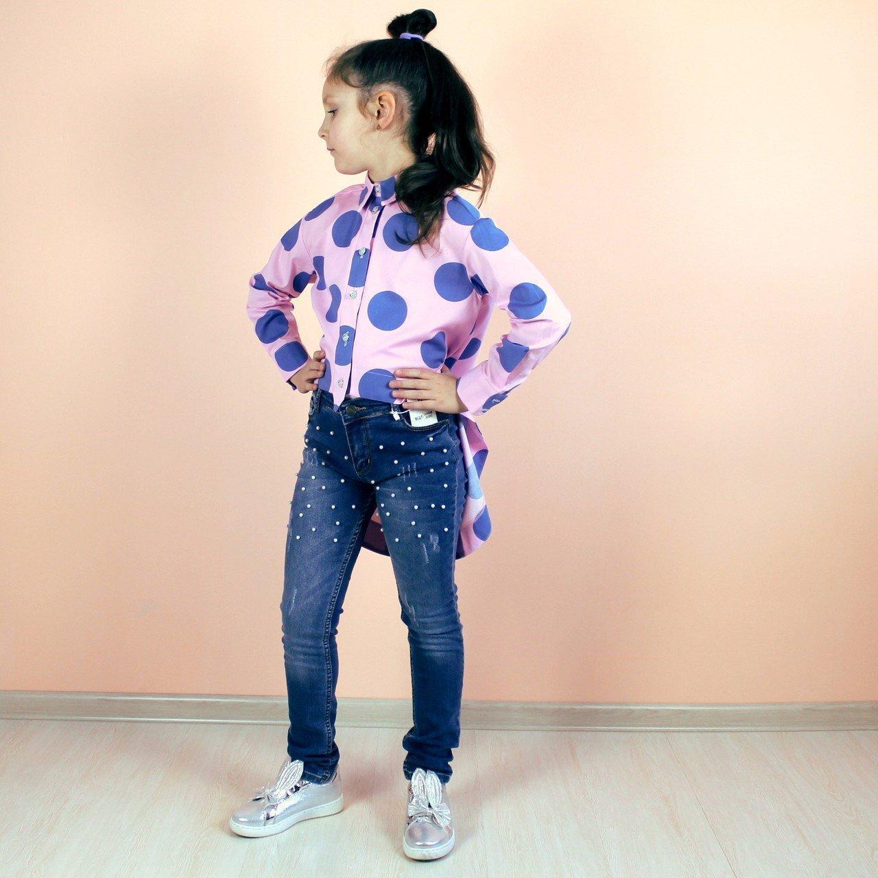 Рубашка горох розовая с голубым размер 128,134,140