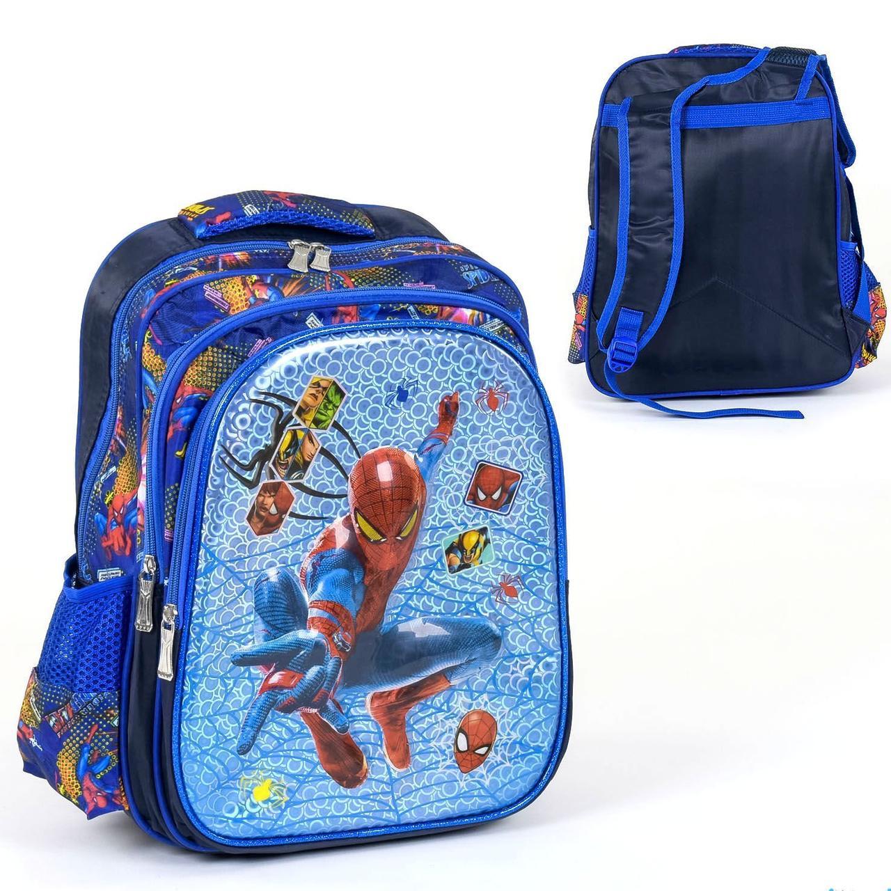 Рюкзак школьный Человек Паук 3D принт: 2 отделения, 3 кармана 30 см × 5 см × 40 см